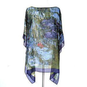 NWOT Semi-Sheer Silk Monet Tunic Poncho Cover-up